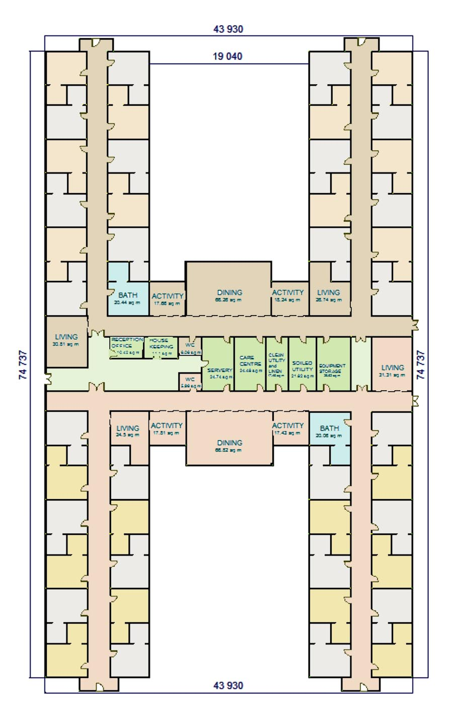 W A Benbow DEMENTIA DESIGN H SHAPE FACILITY LAYOUT